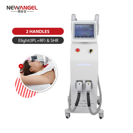 Permanent painless elight shr hair removal machine with 2 handles