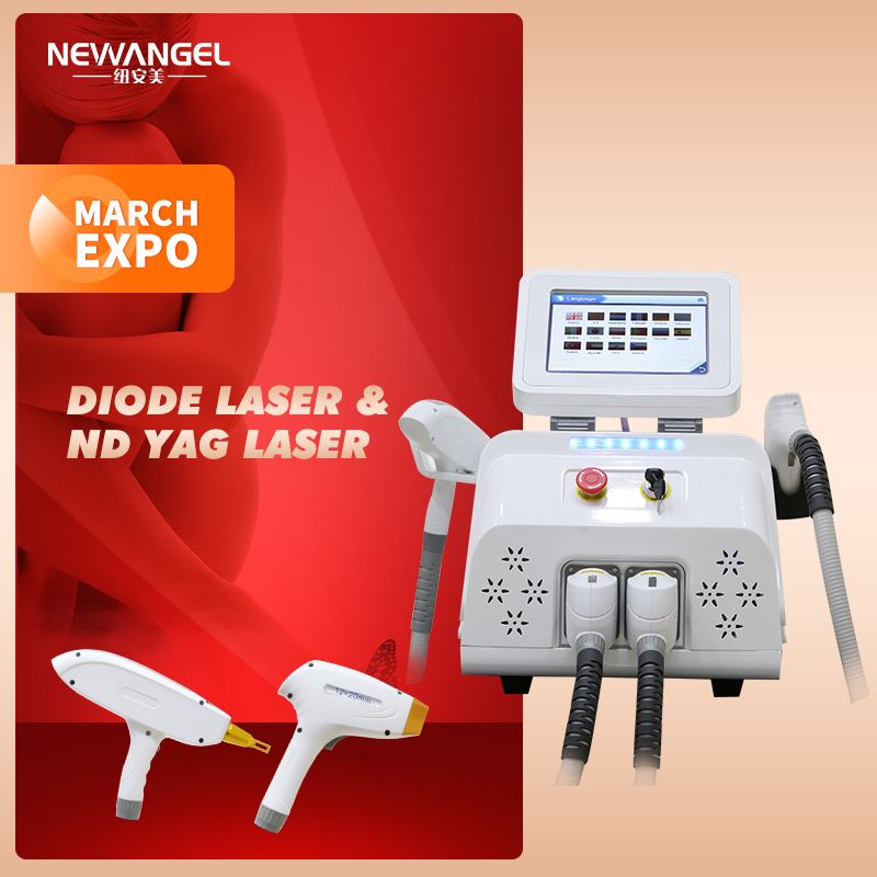1064nm Diode Laser Hair Removal 3 Wavelength Laser Ndyag Qswitched Tattoo Removal Machine Latest Style Salon Use