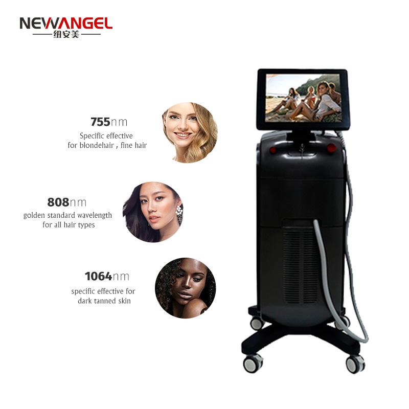 Micro Channel 3 Wavelength 1064nm 755nm 810nm Hair Removal Machine Good Price Commercial Tanned Skin Painless